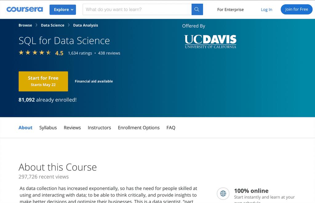 SQL for Data Science Image